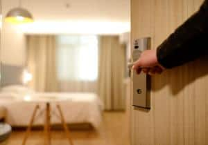 door to hotel room held open